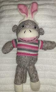 Sock Monkey Easter pink Monkey